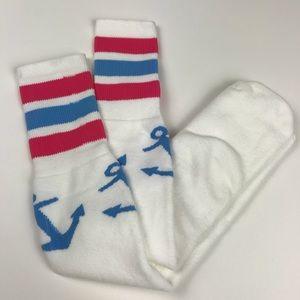 Delta Gamma Knee High Anchor Design Tall Socks